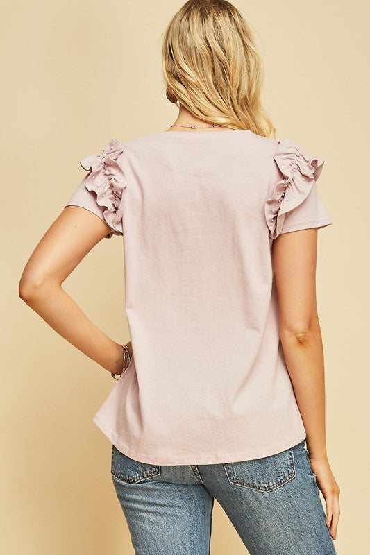 Susie Pearls and Ruffles Top