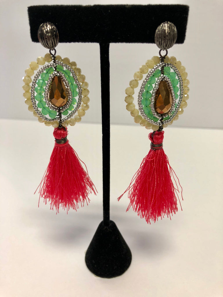 Multi Stone Tassel Earrings