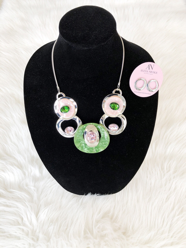 Green and Pink Statement Necklace Set