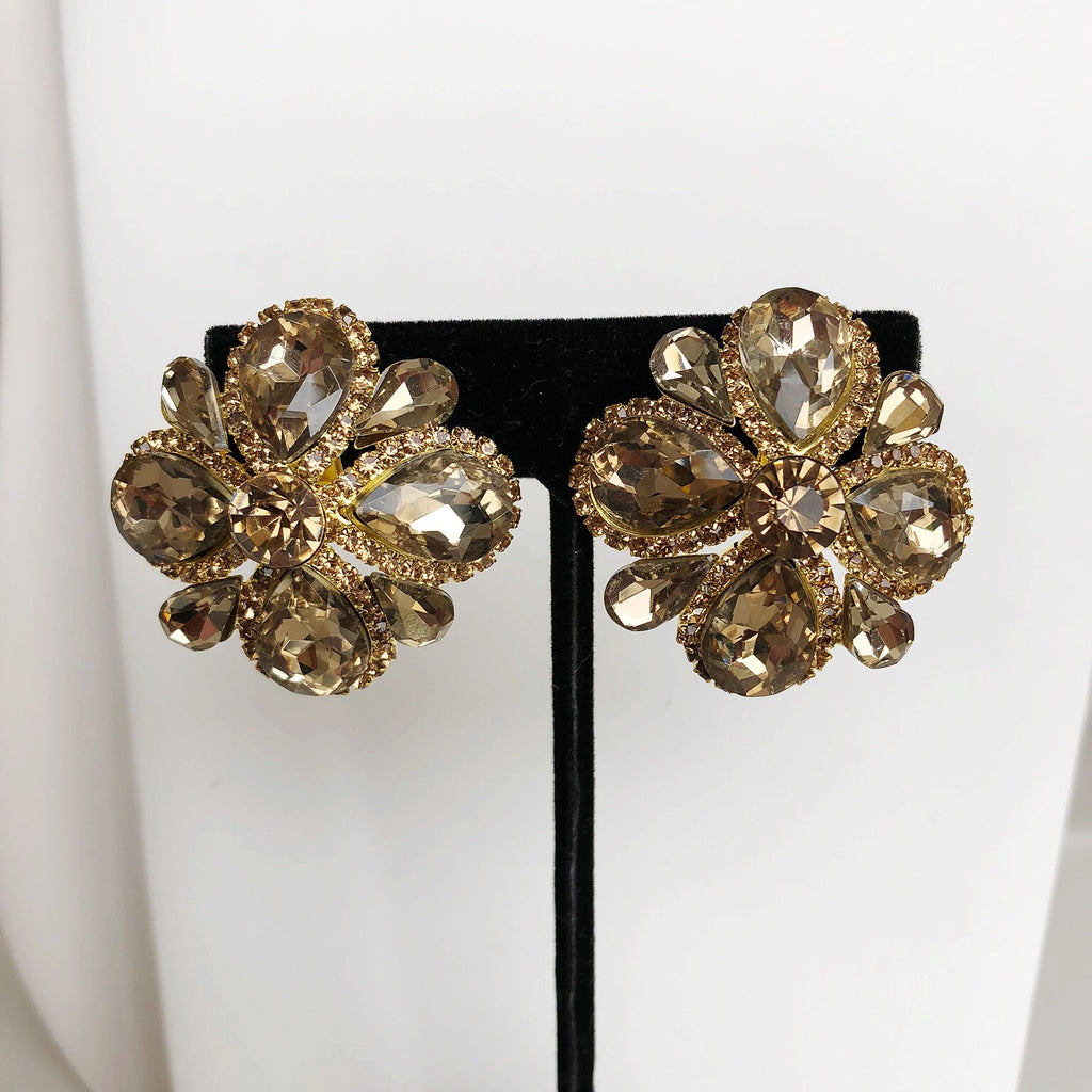 Bronze Floral Statement Earrings