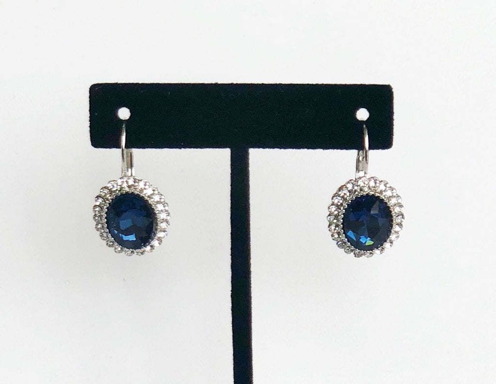 Blue and Silver Pendent Earrings