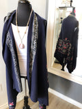 Embroidered Long Blue Vest