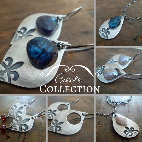 Creole Collection Necklace - Handmade. Blue Labradorite/Spectrolite. Oxidized Fine and Sterling Silver