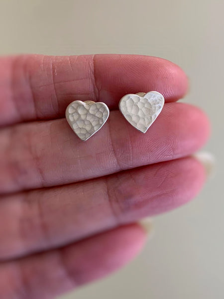 Amore Stud Earrings- Fine Silver Post Hammered Heart Earrings. Handmade.
