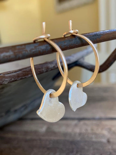 Ardor Hoops - Mixed Metal. Matte 14k goldfill hoops with fine silver hearts. Choice of 6 sizes