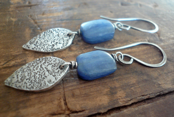 Cielo Earrings- Oxidized fine silver. Kyanite. Dangle earrings. Handmade