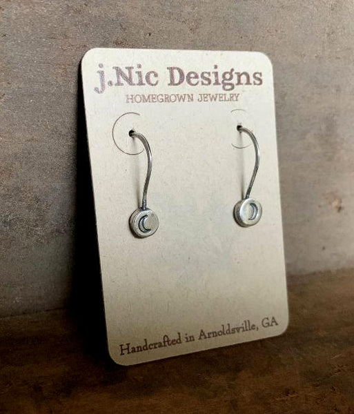 Drops of Moon Earrings - Handmade. Oxidized fine and sterling silver