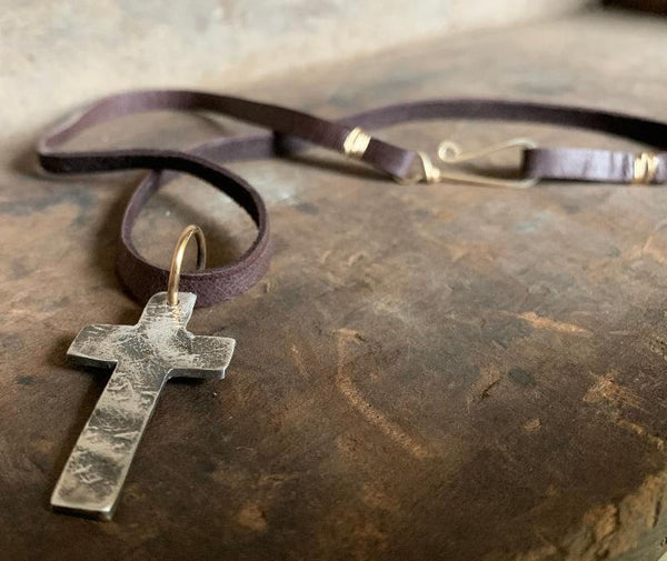 Faith Collection Necklace- Oxidized fine silver rustic Cross. 14kt Goldfill. Leather. Mixed Metal. Handmade