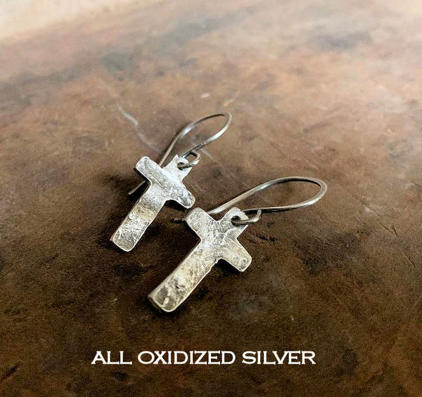 Faith Collection Earrings - Oxidized fine silver rustic Cross Earrings. 14kt Goldfill. Mixed Metal. Handmade