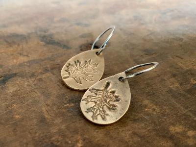Fall Earrings - Handmade. Bronze and Oxidized sterling silver dangle earrings. Mixed Metal