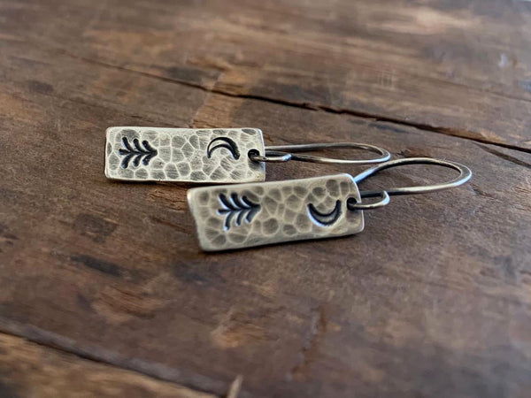 Fika Earrings - Handmade. Oxidized fine and sterling silver. Moonlight over the Pines Earrings