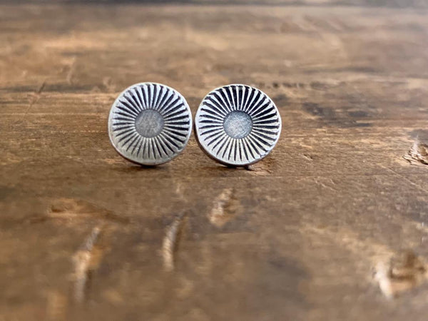 Glisten Post Earrings - Handmade. Oxidized Fine Silver Earrings