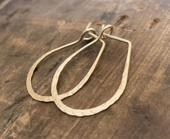 Hammered Horseshoe Hoops in Gold - Handmade. hand forged. 14kt goldfill Earrings