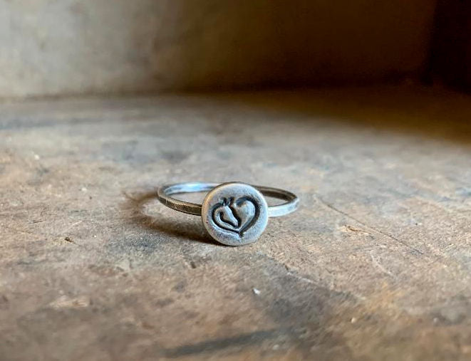 Heart Horse Stacking Ring - Sterling & Fine Silver Oxidized Hammered Ring. Hand made by jNic Designs