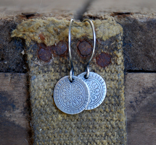 Mandala Earrings - Handmade. Oxidized fine and sterling silver