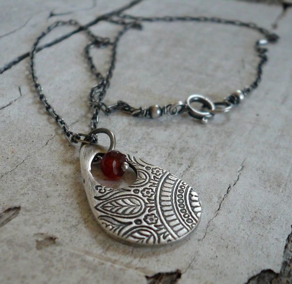 Mehndi Spice Necklace - Handmade. Spessartite Garnet. Oxidized Fine and Sterling Silver