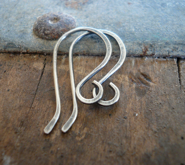 Dandy Sterling Silver Earwires - Handmade. Handforged. Oxidized and polished. Made to Order