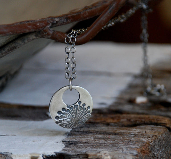 Wishful Necklace - Handmade. Oxidized Fine and Sterling Silver