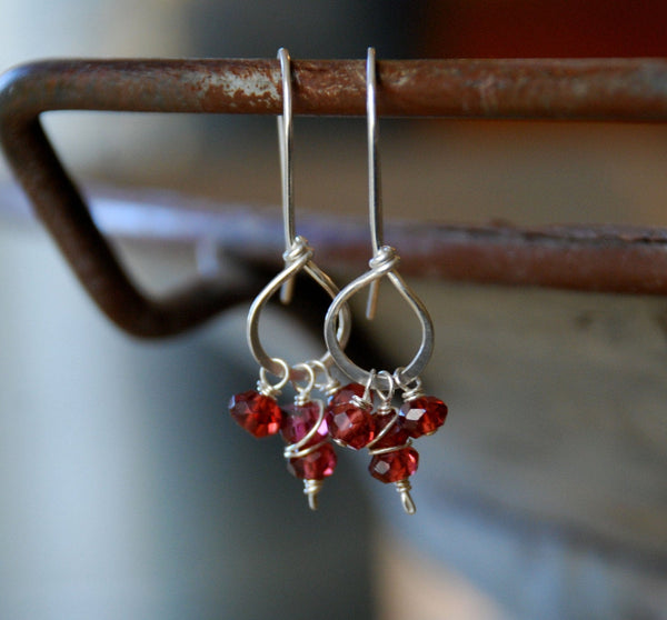 Frolic Earrings - Handmade. Garnet. Sterling Silver
