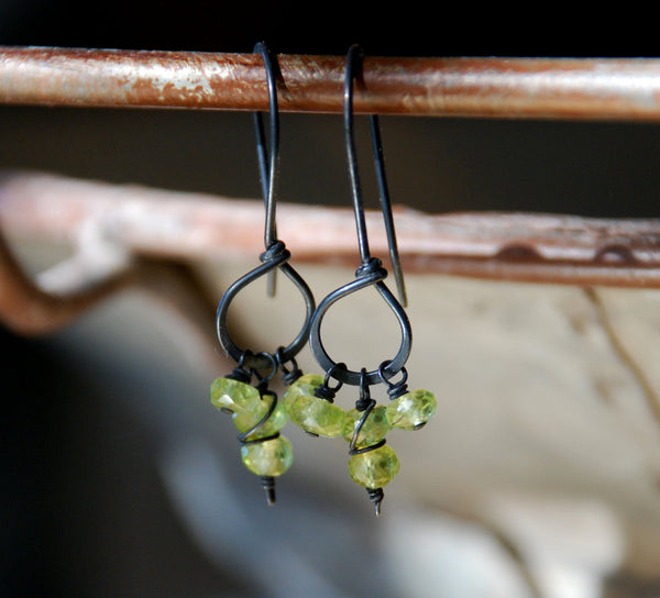 Frolic Earrings - Handmade. Peridot. Heavily Oxidized Sterling Silver