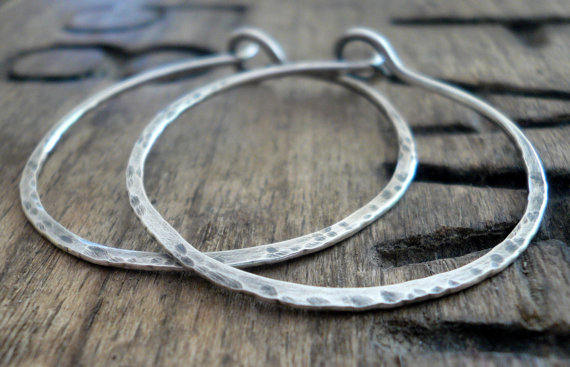 Mangly Hoops - Choice of 6 sizes. Handmade. Hammered. Oxidized Sterling Silver Hoop Earrings