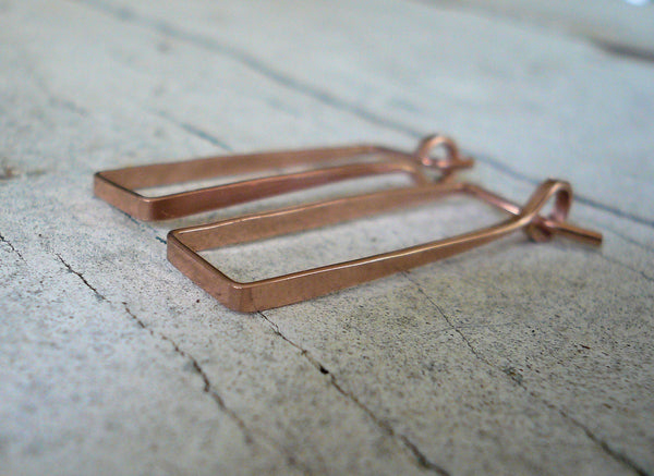 Svelte Hoops - Handmade. Hand forged. Choice of 3 sizes. 14kt Rose Goldfill Rectangular Hoop Earrings
