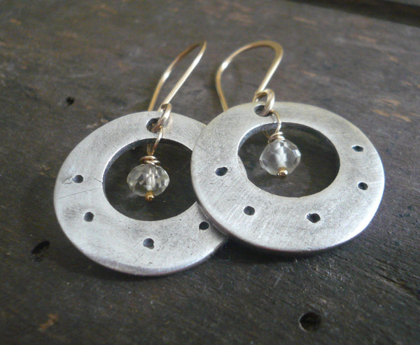 Soleil Collection Orbital Earrings - Oxidized fine silver. 14kt Goldfill. Scapolite. Mixed Metal. Handmade