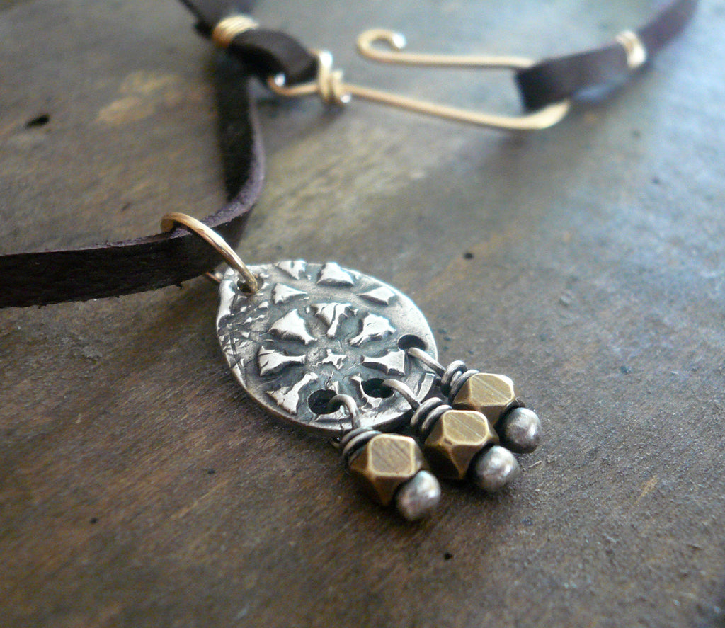 Soleil Collection Drops Necklace- Oxidized fine silver. Brass. 14kt Goldfill. Leather. Mixed Metal. Handmade
