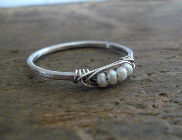 Nestle Ring in Cloud - Sterling Silver Stacking Ring. Wire Wrapped Pearls. Handmade. Hand forged.