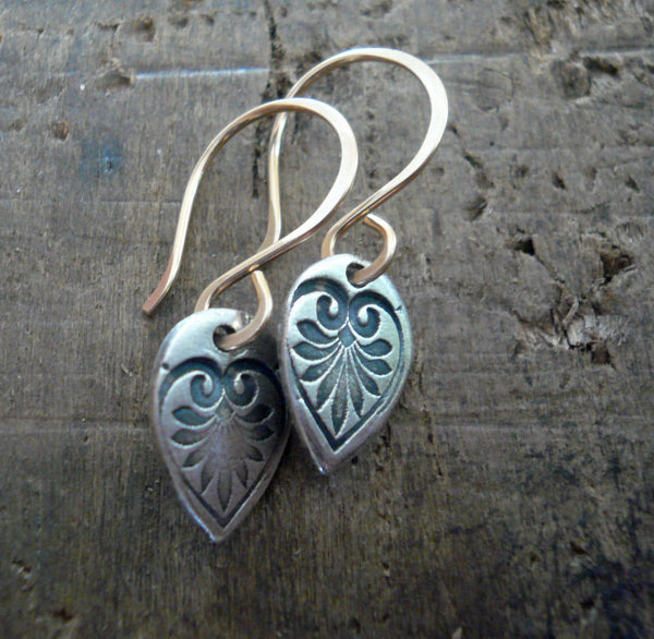 French Quarter Earrings - Leaf - Oxidized fine silver. 14kt Goldfill. Mixed Metal. Handmade