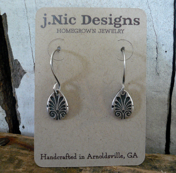 French Quarter Earrings - Tear - Oxidized fine & sterling silver. Handmade