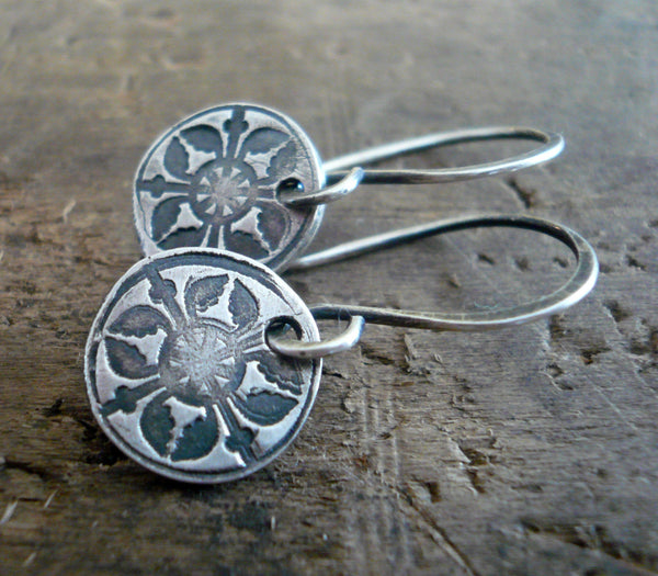 French Quarter Earrings - Round - Oxidized fine & sterling silver. Handmade
