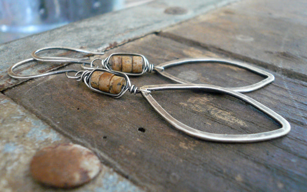 Fallen - Handmade. Oxidized sterling silver dangle Earrings. Wire Wrapped Picture Jasper