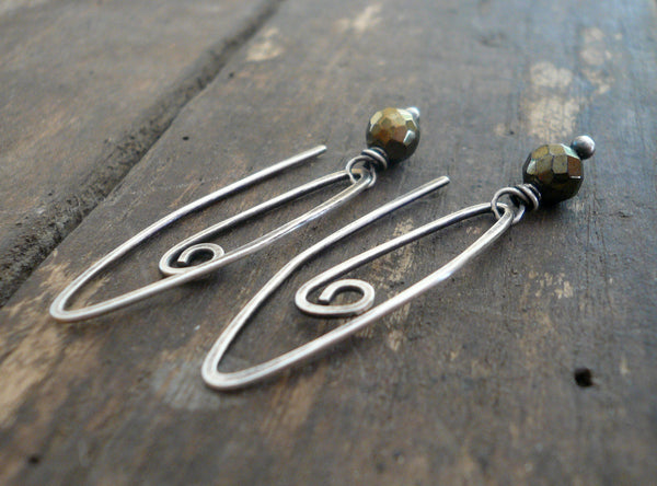 Tittle - Handmade Earrings. Pyrite, Oxidized Sterling Silver Dangle Earrings