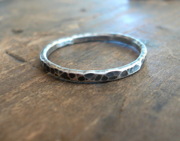 Mangly Ring - Sterling Silver Oxidized Hammered Stacking Ring. Hand made by jNic Designs