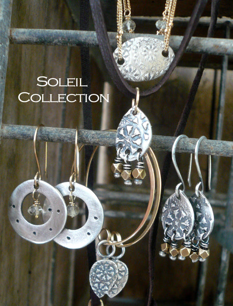 Soleil Collection Bracelet- Oxidized fine silver. 14kt Goldfill. Mixed Metals. Handmade
