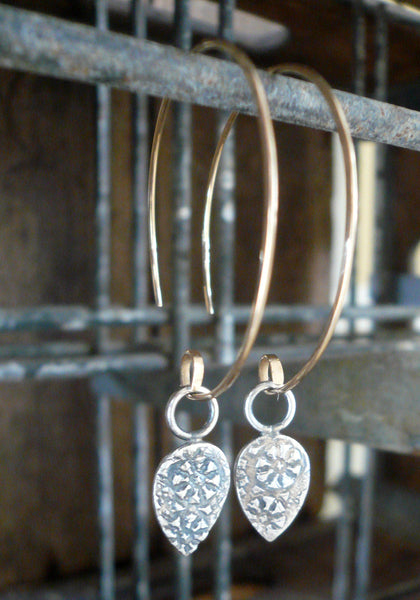 Soleil Collection Ray Earrings - Oxidized fine silver. 14kt Goldfill. Mixed Metal. Handmade