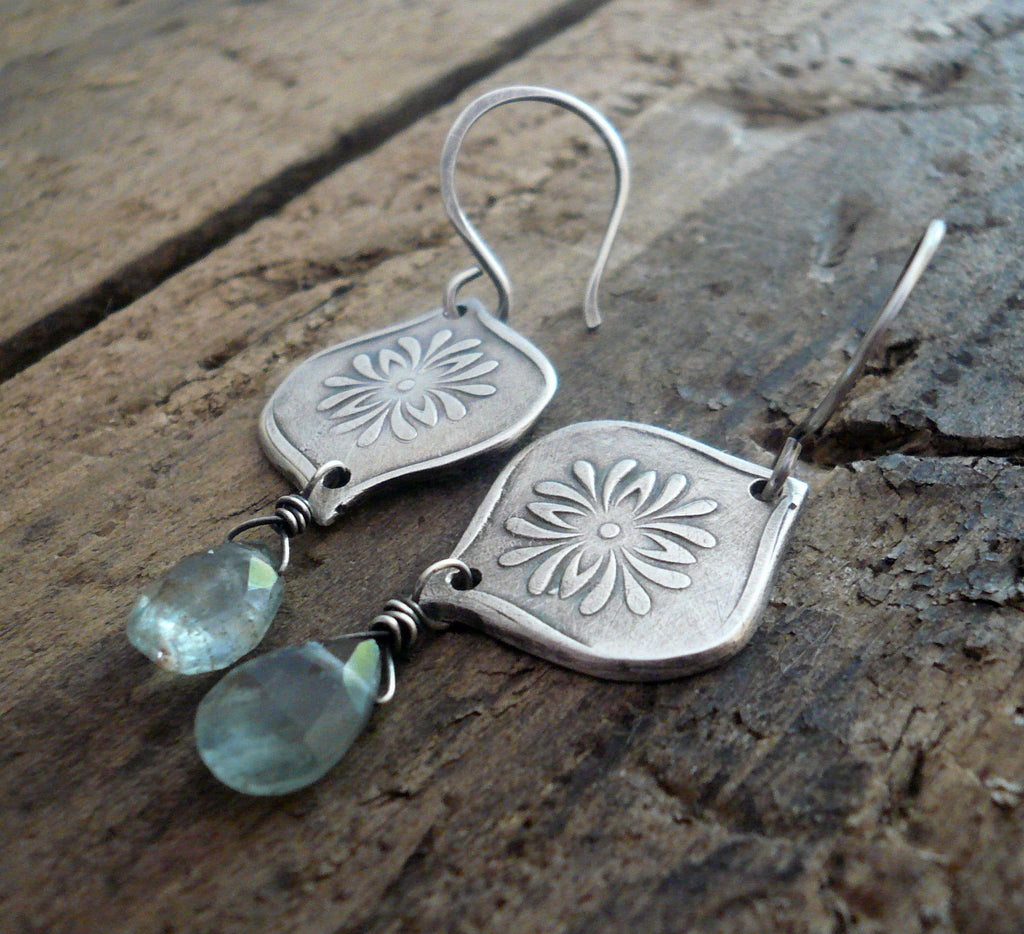 Muse Earrings - Oxidized fine and sterling silver. Moss Aquamarine. Handmade dangle earrings