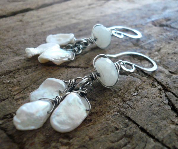 Linger Earrings - Handmade. Moonstone. Keishi Pearls. Oxidized Sterling Silver