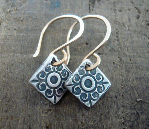 French Quarter Earrings -Diamond - Oxidized fine silver. 14kt Goldfill. Mixed Metal. Handmade