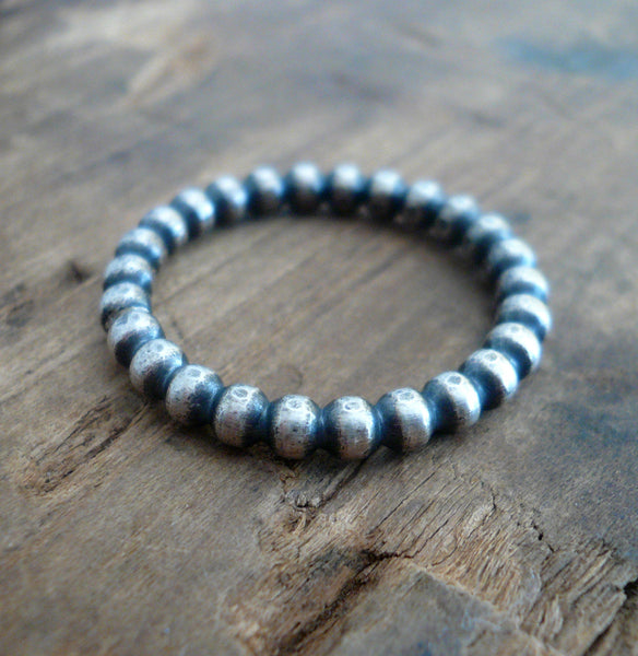 Olio Ring - Sterling Silver Beaded Stacking Ring. Hand made by jNic Designs