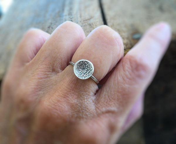 Bloom Ring - Sterling & Fine Silver Oxidized Hammered Ring. Hand made by jNic Designs