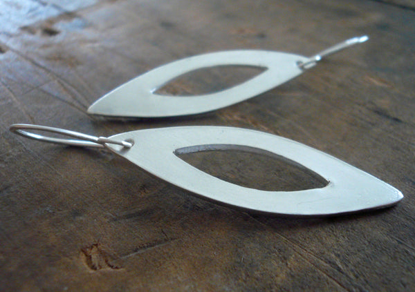 Mimosa Earrings - Handmade. Brushed fine and sterling silver dangle earrings
