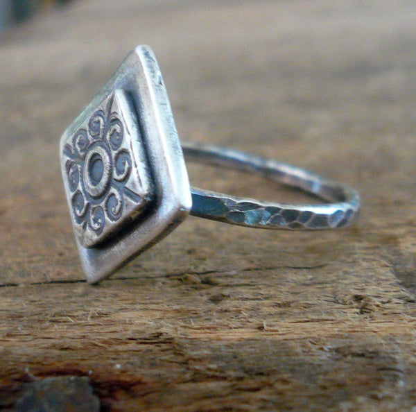 French Quarter Ring - Sterling & Fine Silver Oxidized Hammered Ring. Hand made by jNic Designs