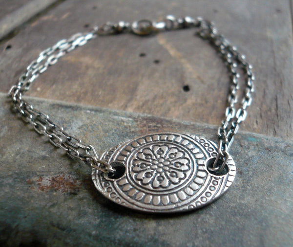 Mandala Bracelet- Oxidized fine and sterling silver. Handmade