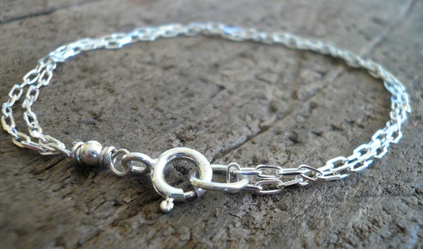 Bracelet Design Your Own Series -  2 strand Sterling Silver Elongated Chain. Choice of shiny or oxidized finishes