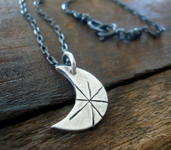 Luna Necklace - Handmade. Oxidized Fine and Sterling Silver