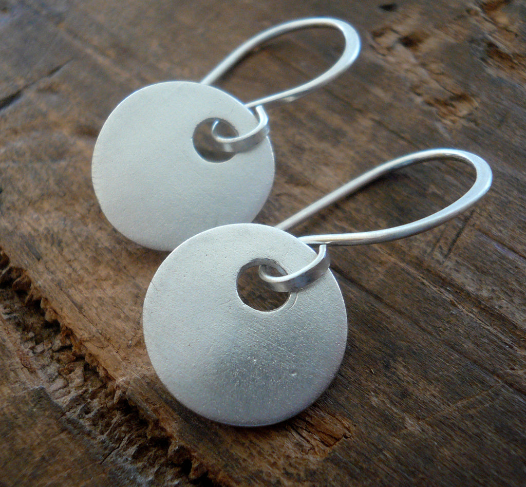 Essential Earrings Medium Round - Handmade. Brushed/Oxidized fine and sterling silver dangle earrings