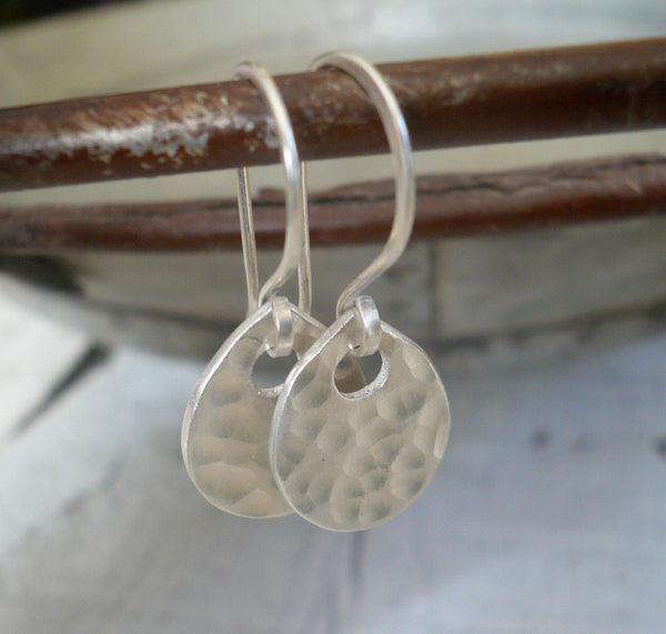 Essential Earrings Large Tear - Handmade. Brushed Fine and sterling silver dangle earrings