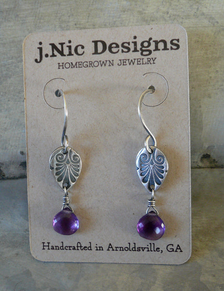 French Quarter in February Earrings - Amethyst. Oxidized fine & sterling silver. Handmade Dangle earrings